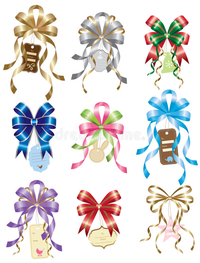 Bow with Gift Tag Set stock illustration