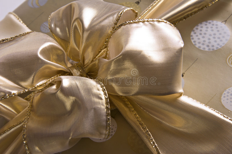 Download Bow of Gold stock photo. Image of holiday, gift, white - 2318992