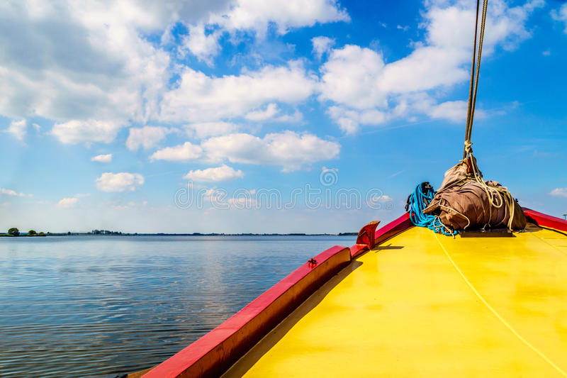Bow of a Historic Botter Boat in the Harbor of Bunschoten-Spakenburg. In the Netherlands stock photo
