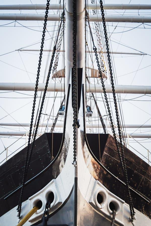 Bow of a historic sailing ship with iron hull royalty free stock photos