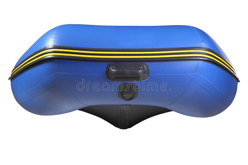 Bow inflatable, rubber blue boat with keel, isolated on white. The bow inflatable rubber blue boats PVC with inflatable keel, isolated image on white background royalty free stock photo