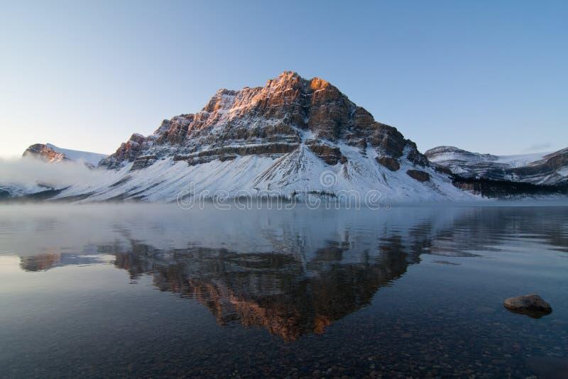 Bow Lake. Sunrise at Bow Lake Reflection stock photos