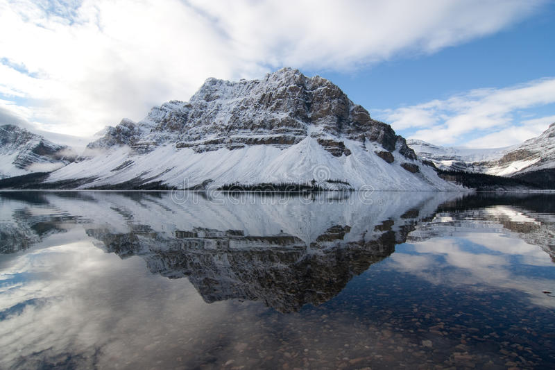 Bow Lake. Reflection with clouds stock images