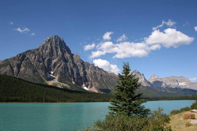 Bow Lake. A view of beautiful glacier fed Bow Lake in Banff National Park, Alberta stock images