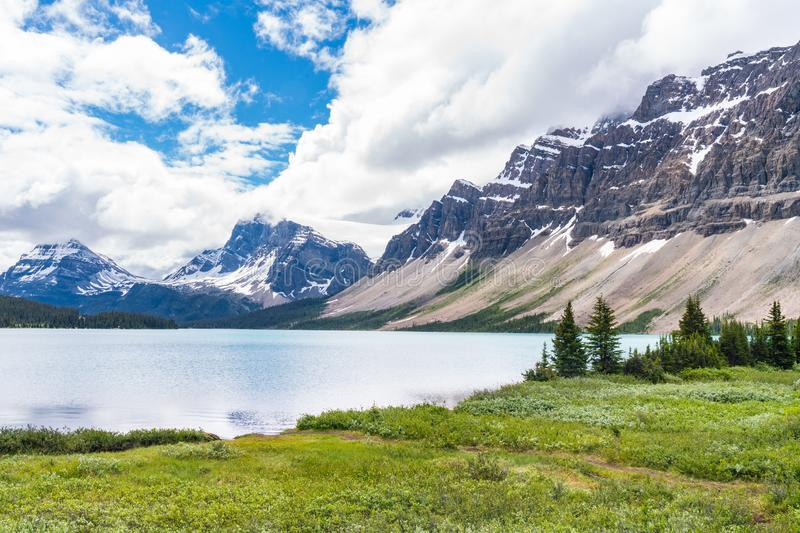 Bow Lake, Alberta, Canada. Bow Lake along the Icefields Parkway in Banff National Park, Alberta, Canada stock image