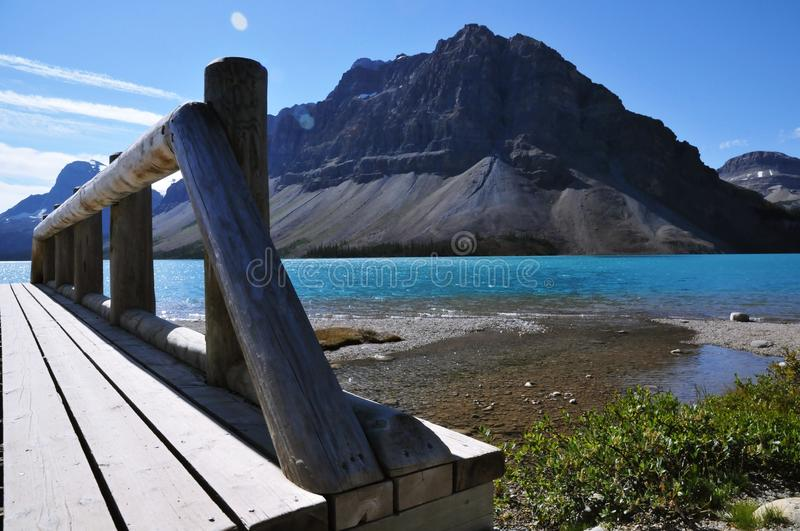 Panoramic view of bow lake and mountains in Jasper national park, Canada stock photography