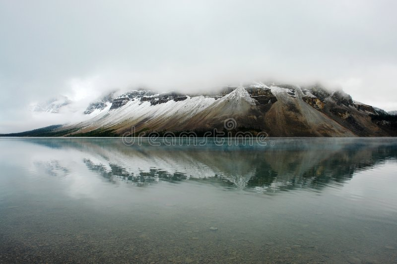 Bow lake in august. View of bow lake after a sudden summer snow in august, banff national park, alberta royalty free stock images