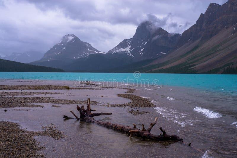 Bow lake, moody skies stock images