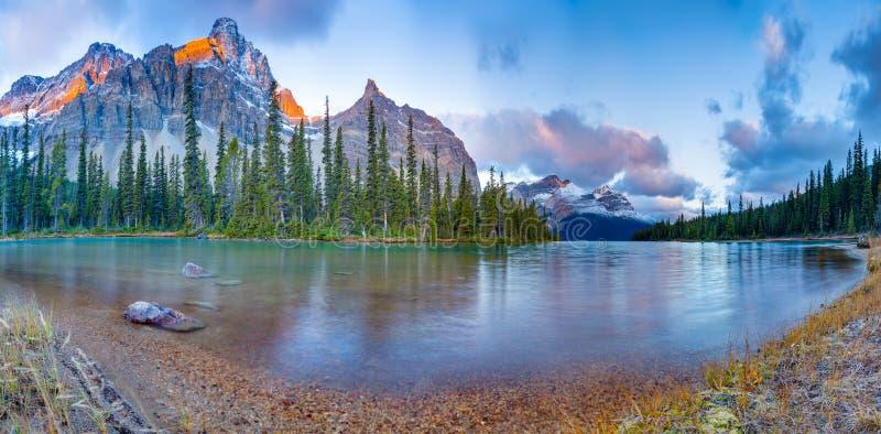 Bow lake panorama. Sunrise panorama on Bow lake, Icefield road, Canada royalty free stock photos