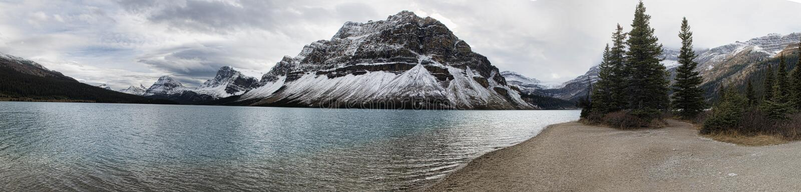 Bow Lake Panoramic. Bow Lake is a small lake in western Alberta, Canada. It is located on the Bow River, in the Canadian Rockies, at an altitude of 1920 m stock photo