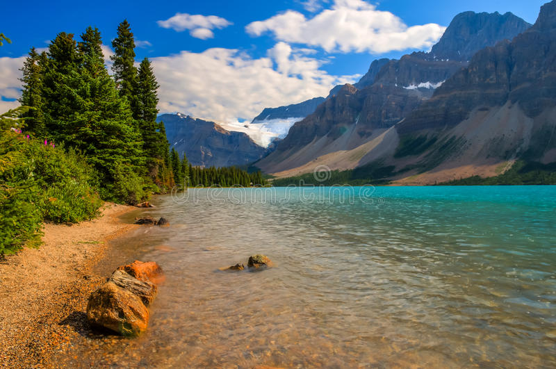 Bow Lake Scenic Landscape. On the Icefields Parkway, Banff National Park, Alberta, Canada royalty free stock photo