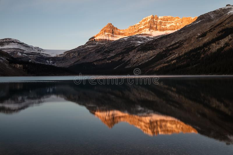Bow Lake Sunrise Glow in Banff National Park, Alberta, Canada. Canadian Rockies light up at sunrise, reflected in Bow Lake royalty free stock photo