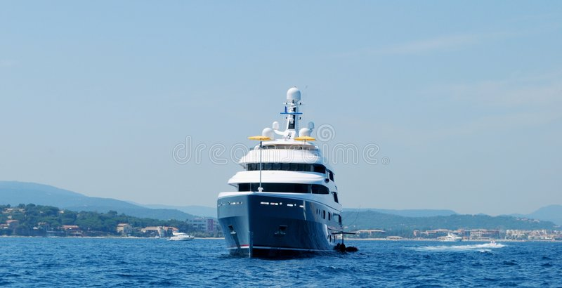 Bow of luxury yacht royalty free stock photos