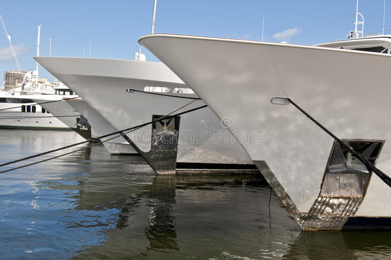 Bow Of Luxury Yachts Stock Image