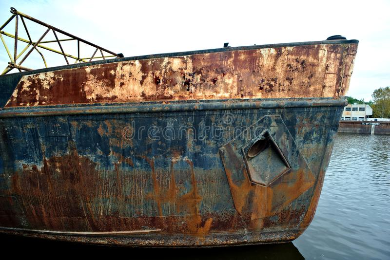 Bow of an old rusty ship royalty free stock photography