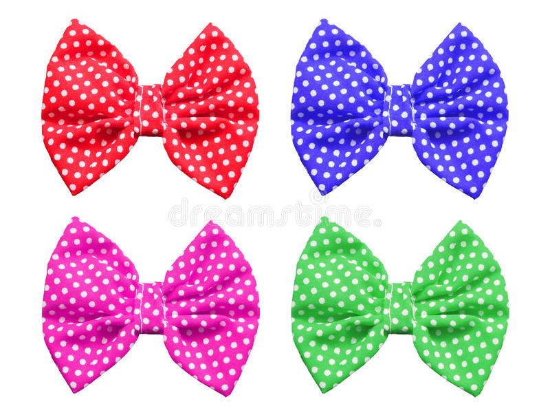 Bow with polka dot pattern. Isolated on white background stock photography