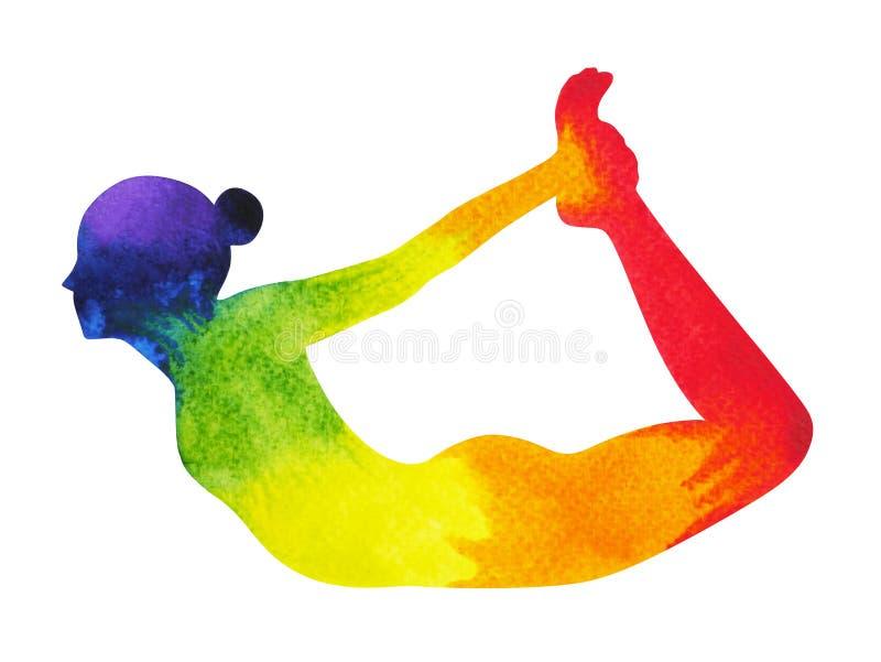 Bow Pose Yoga, 7 Color Chakra Watercolor Painting Hand Drawn Stock ...