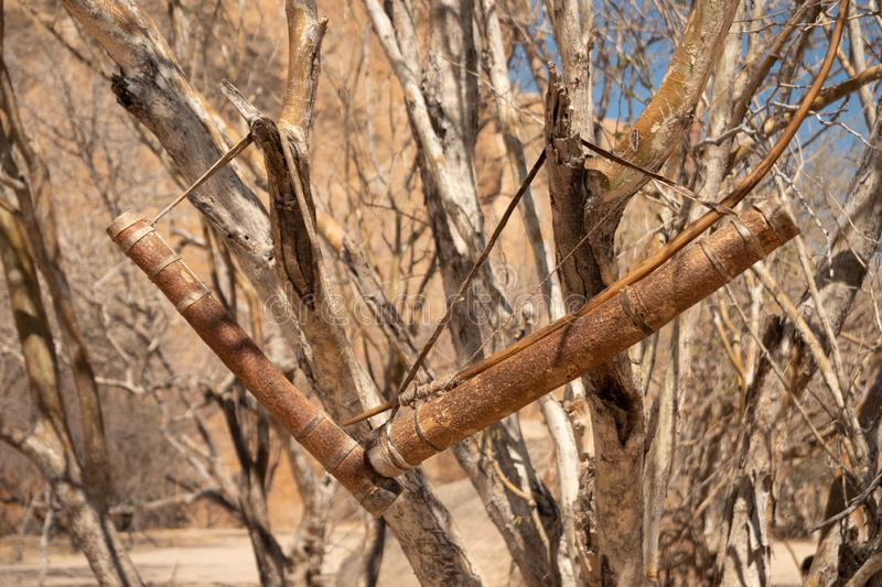 Bow and Quiver of a San or Bushman Hunter royalty free stock photography