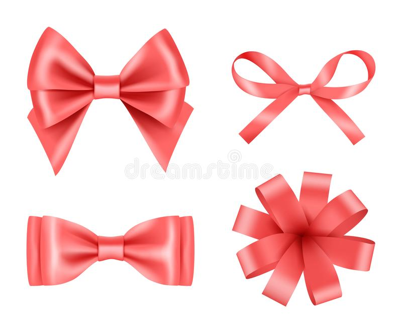 Bow realistic. Holiday decoration colored bow with satin ribbons vector 3d pictures set vector illustration