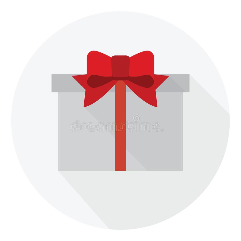 Bow and  red ribbon on the white gift box royalty free illustration