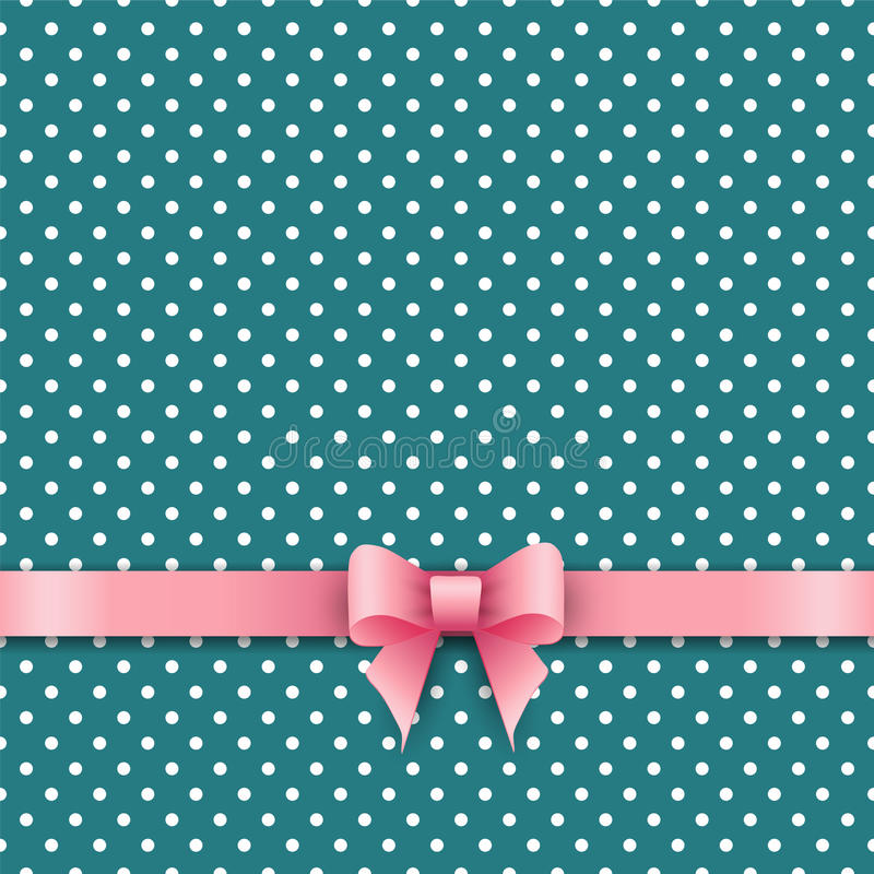 Bow and ribbon on green polka dot background vector illustration