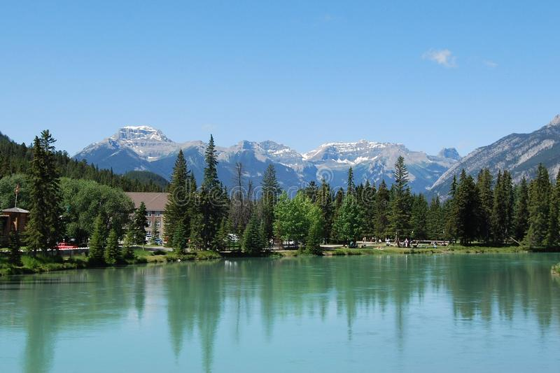 Bow River at Banff, Alberta, Canadian Rockies royalty free stock image