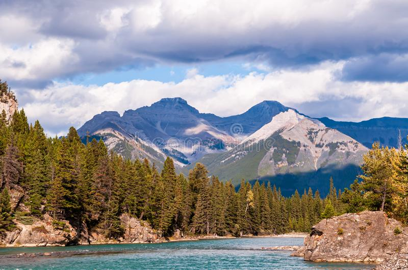 The Bow river in Banff National Park in Alberta, Canada on a sunny fall day royalty free stock images