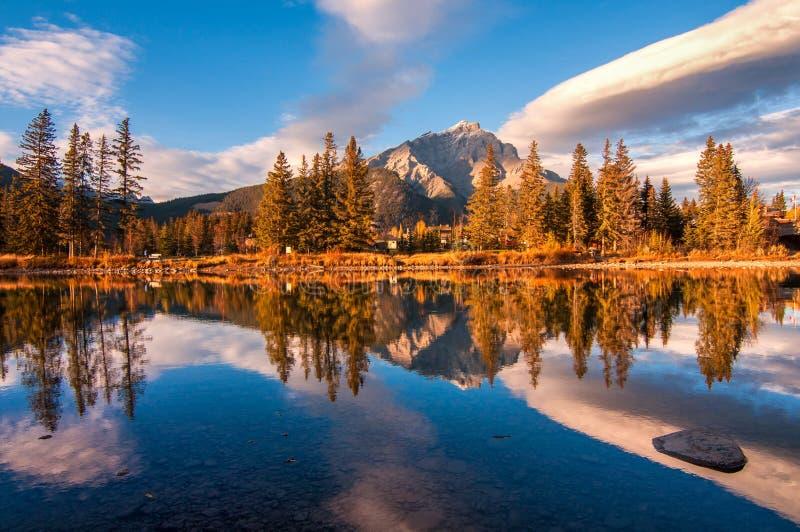Bow River Banff Town Reflection stock photos