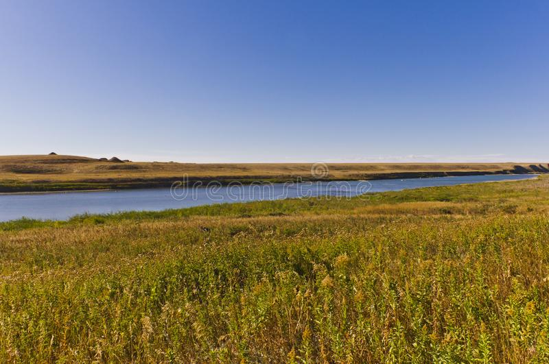Bow river flowing through golden prairie royalty free stock photography