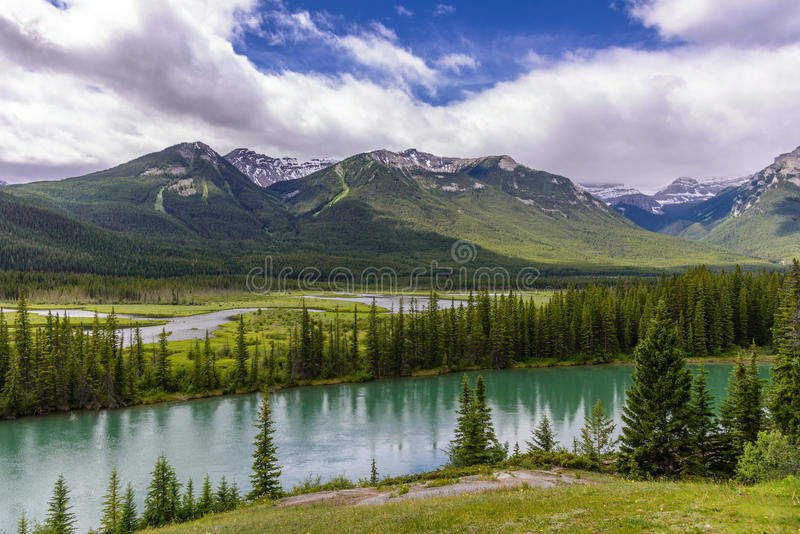 Bow river and valley in Banff National Park stock photos
