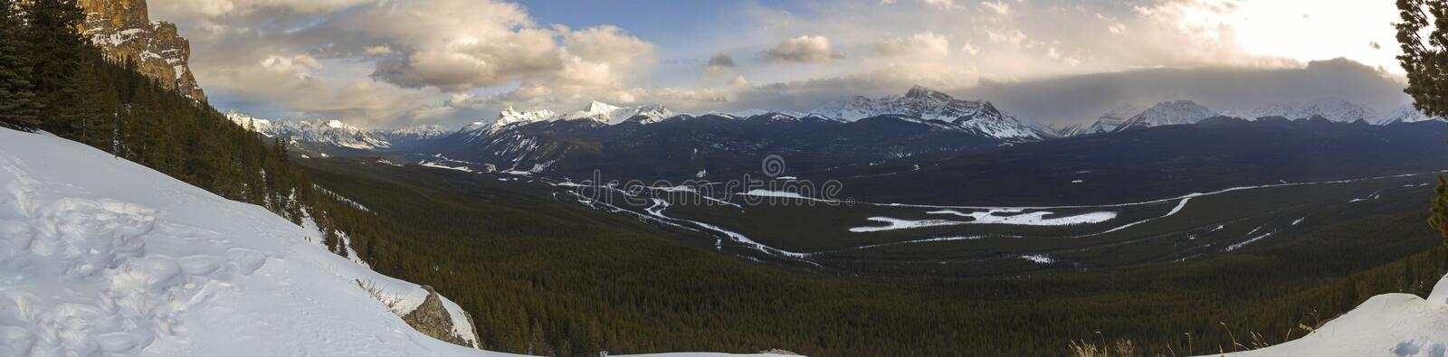 Bow River Valley Panoramic Landscape Banff National Park Canadian Rockies royalty free stock photo