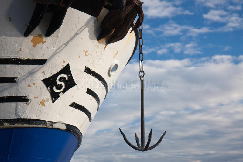 Bow of ship with an anchor royalty free stock photos