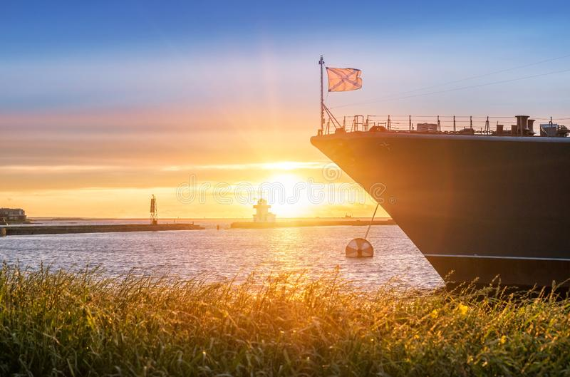 The bow of the ship and the setting sun royalty free stock photo