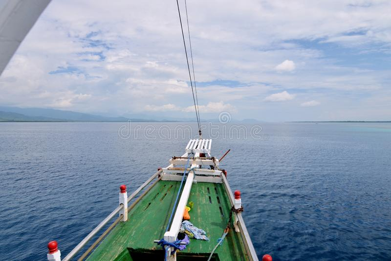 A Bow of Small Cruise Ship, Indonesia. A bow of small wooden cruise ship in Komodo National Park, Indonesia royalty free stock images