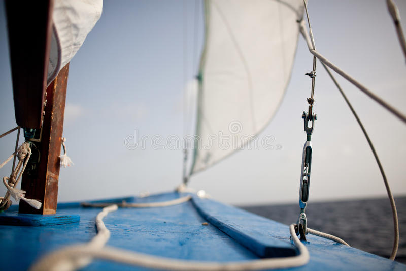 The bow of a small skiff stock image