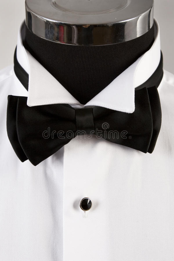 Bow-tie. Front view of bow tie and ceremony shirt royalty free stock photography