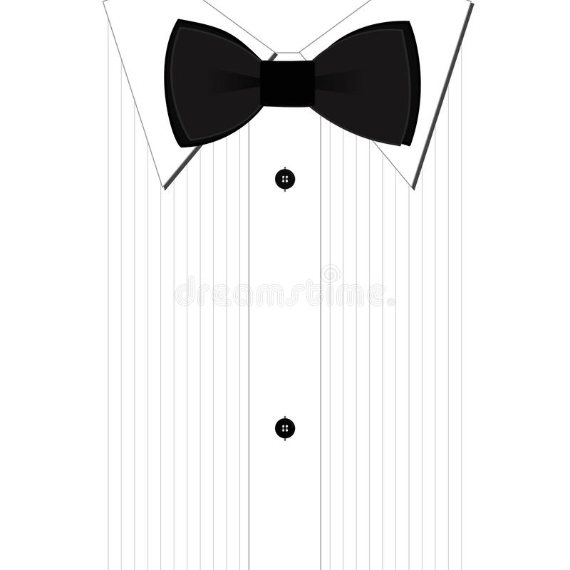 Bow tie. Black bow-tie and a classic white shirt