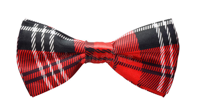 Bow tie. Red black plaid bow tie isolated on white royalty free stock photography