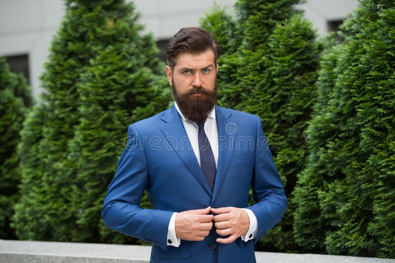 Bow tie only. Businessman In Nature. energy efficiency concept. bearded man in jacket near cypress tree. handsome man. Smartly dressed. ceo walk in street royalty free stock photography