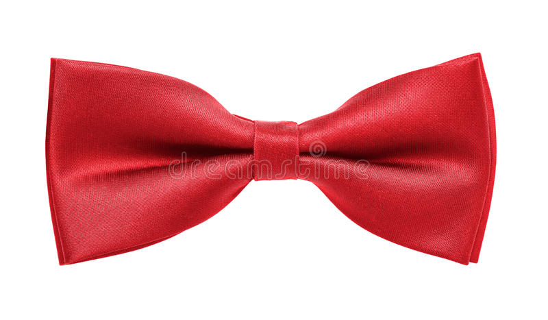 Bow tie. Close up of red bow tie isolated on white background royalty free stock image