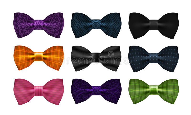 Bow tie collection. Bowtie, necktie symbol or icon. Vector illustration. Bow tie collection. Bowtie symbol or icon. Vector illustration stock illustration