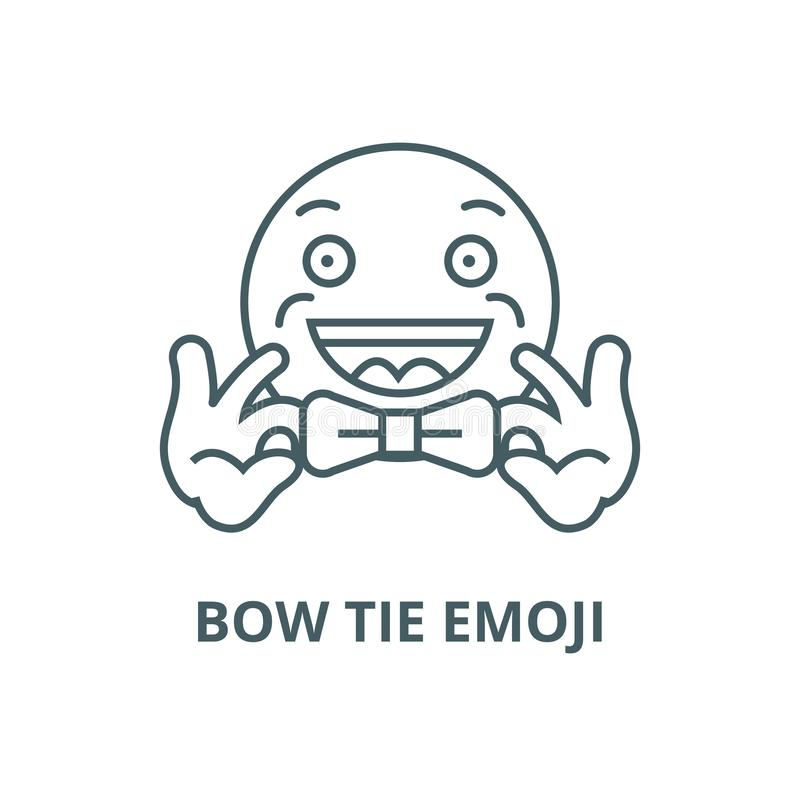 Bow tie emoji line icon, vector. Bow tie emoji outline sign, concept symbol, flat illustration. Bow tie emoji line icon, vector. Bow tie emoji outline sign stock illustration