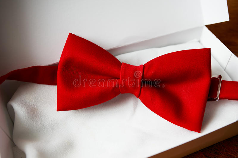 Bow tie in gift box. Colored bow tie in gift box stock images