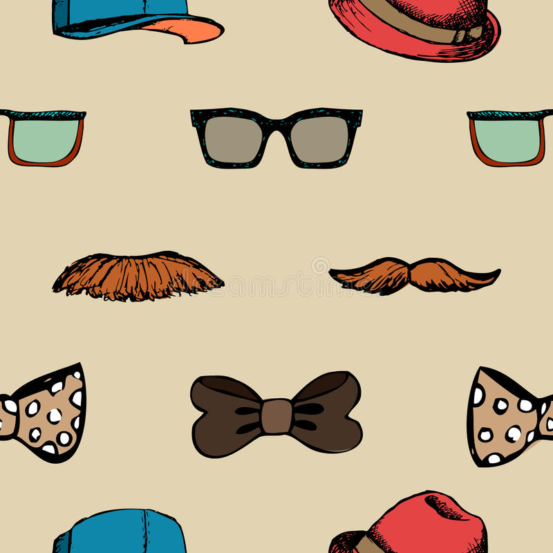 Bow tie, glasses and mustache seamless pattern stock illustration