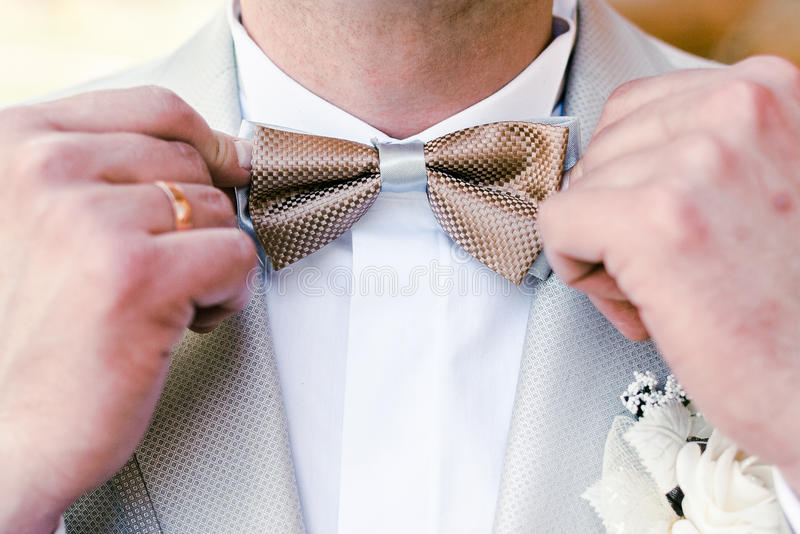 Bow tie. Groom straightens his bow tie royalty free stock photos