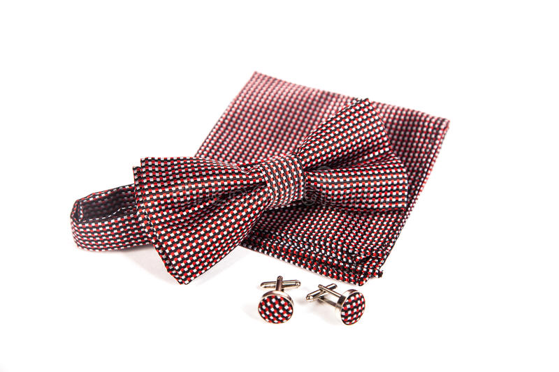 Bow tie, handkerchief and cufflinks. Wedding accessories groom. stock photo