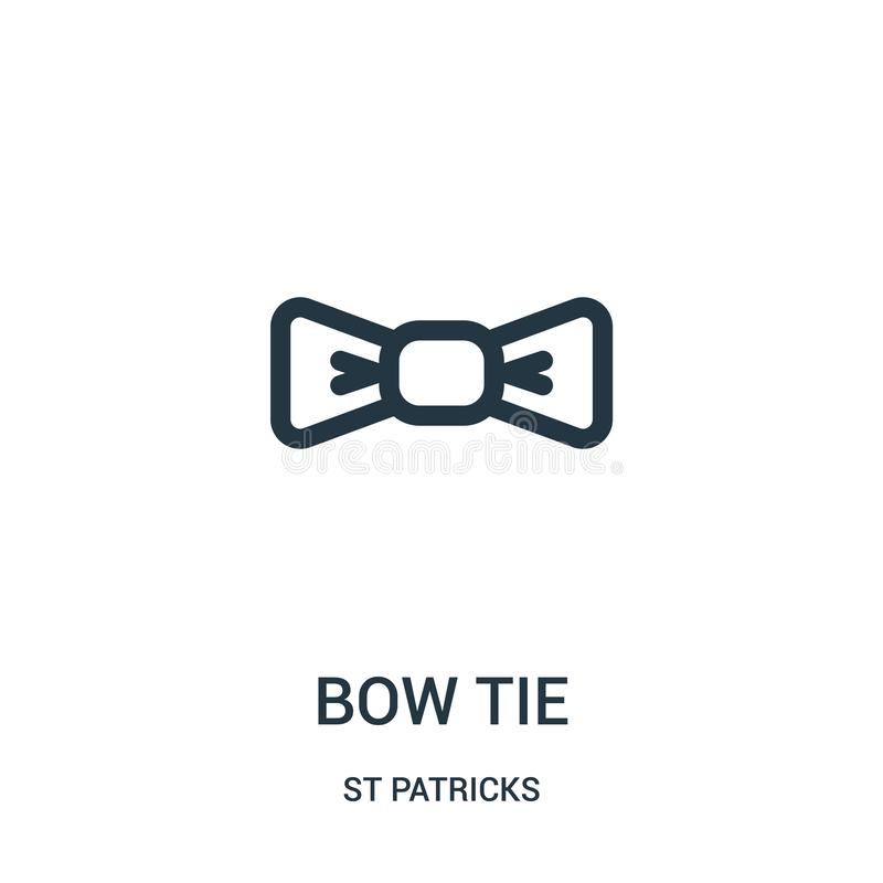 bow tie icon vector from st patricks collection. Thin line bow tie outline icon vector illustration. Linear symbol for use on web stock illustration