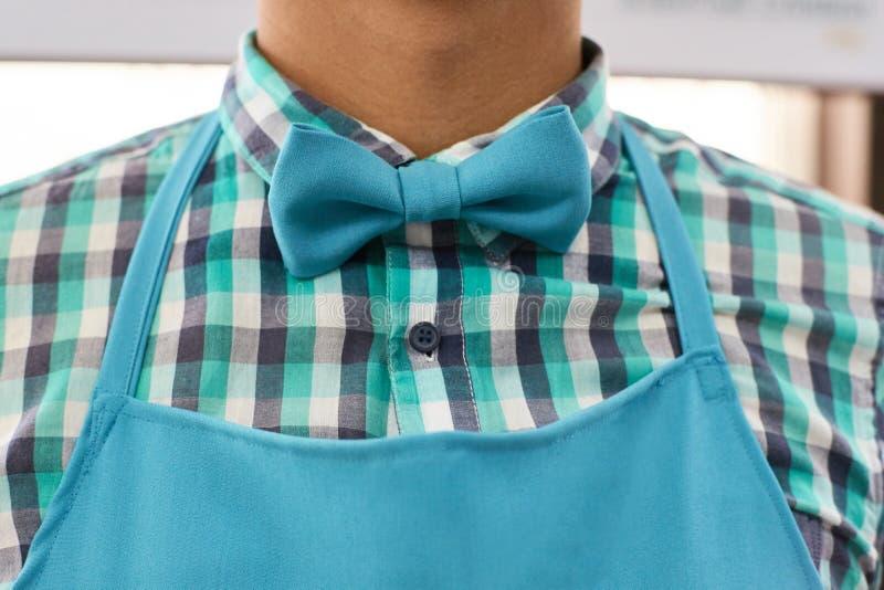 Bow tie. Mens shirt. Barista. Light blue stock image