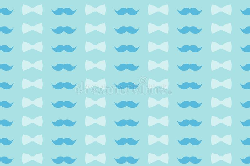 Bow Tie And Mustache Seamless Pattern Cute Colorful