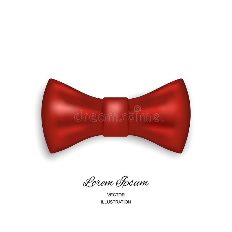 Bow tie or neck tie simple vector icon isolated on white. Background. Realistic 3d vector illustration of red silk or satin bowtie vector illustration